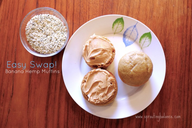 Easy Swap Banana Hemp Muffins | www.sproutingbalance.com | #healthy #swap #hemp