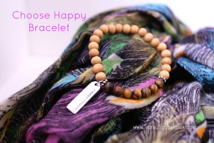 Choose Happy Bracelet | Tiger's Eye & Sandalwood Mala | www.sproutingbalance.com | #Mala #Bracelet #27Beads #Choose #Happy