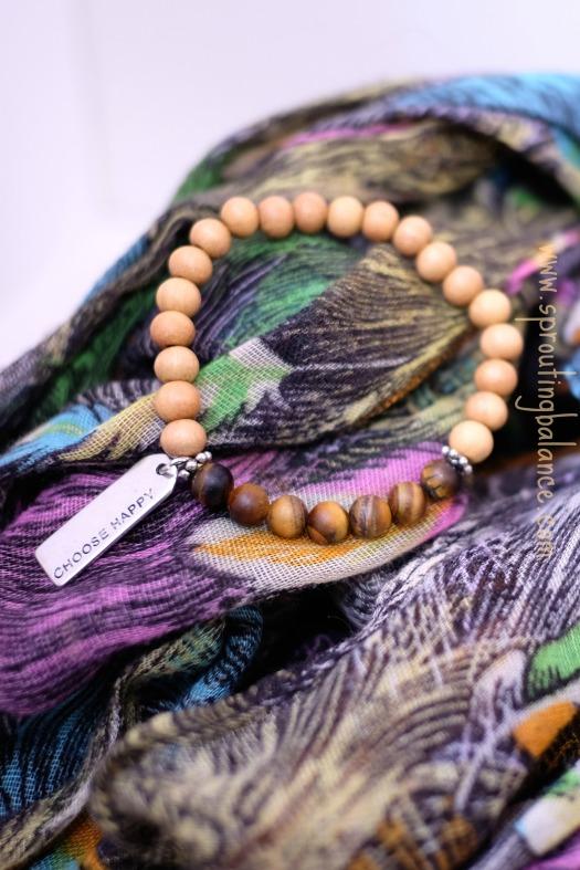 Choose Happy Bracelet | Tiger's Eye & Sandalwood Mala | www.sproutingbalance.com | #Mala #Bracelet #27Beads #Choose #Happy