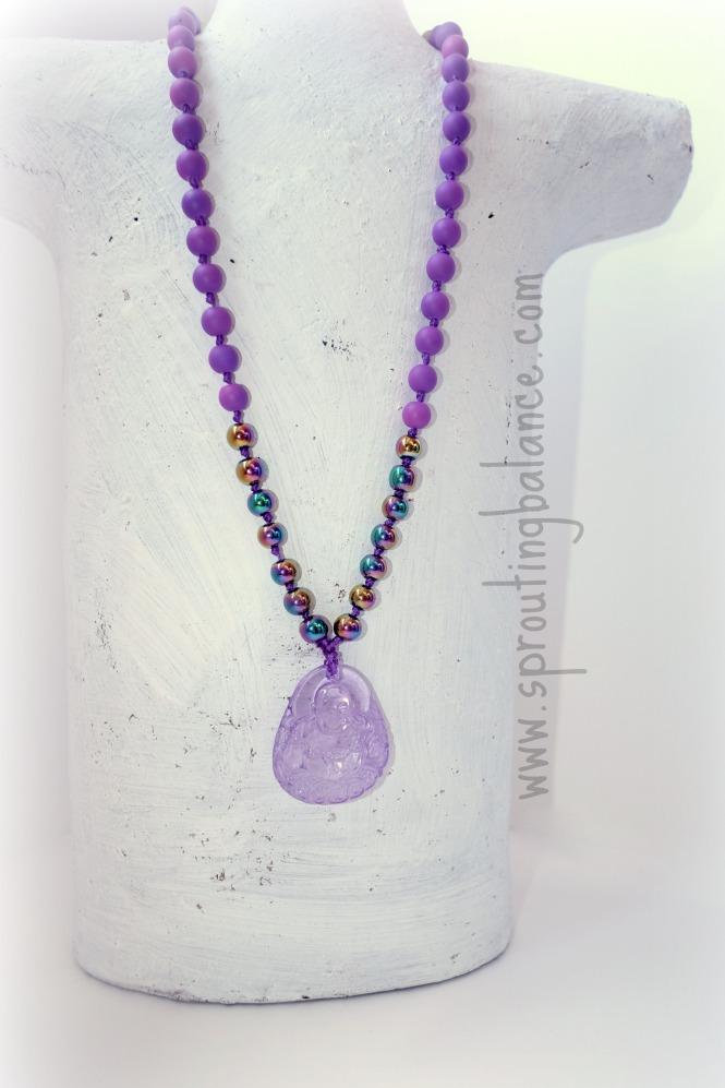 Little Buddha Children's Necklace | www.sproutingbalance.com | #Buddha #Necklace #Children #Hematite #Yoga