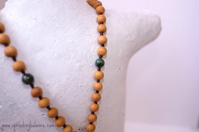 Owl Mala | 108 bead hand knotted necklace | www.sproutingbalance.com | #mala #green #sandalwood #owl