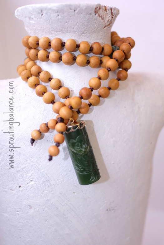 Owl Mala | 108 bead hand knotted necklace | www.sproutingbalance.com | #mala #green #sandalwood #owl