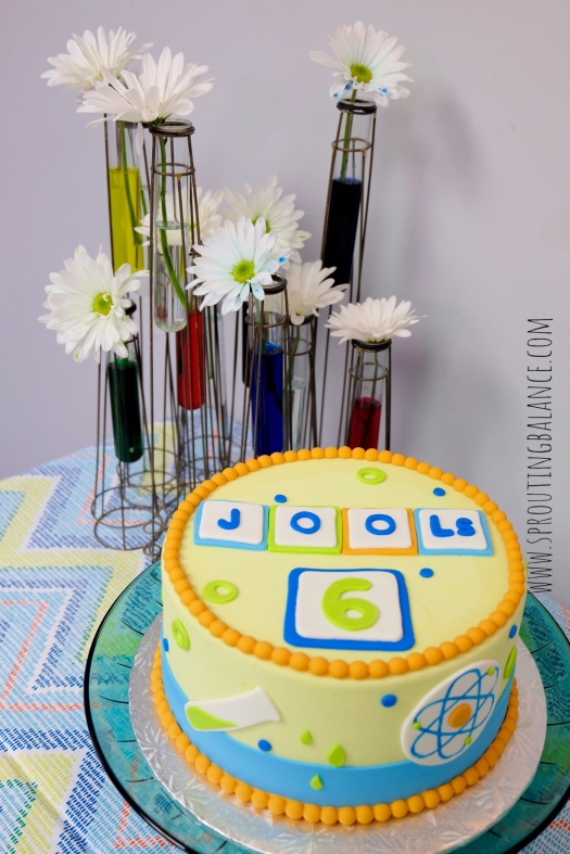 6th Birthday - Science | www.sproutingbalance.com | #science #party #cake #dyed #flowers