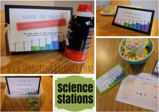 6th Birthday - Science | www.sproutingbalance.com | #science #birthday #party #stations #ideas #experiments