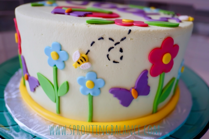 7th Birthday - Butterfly Garden | www.sproutingbalance.com | #butterfly #garden #birthday #cococakeco #cake