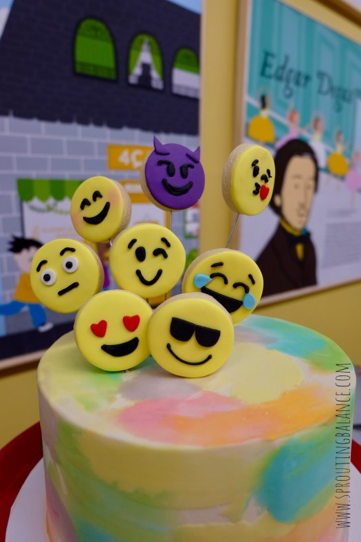 Let's Make Faces - Cake | www.sproutingbalance.com | #4cats #emoji #besties #birthday #party #cake