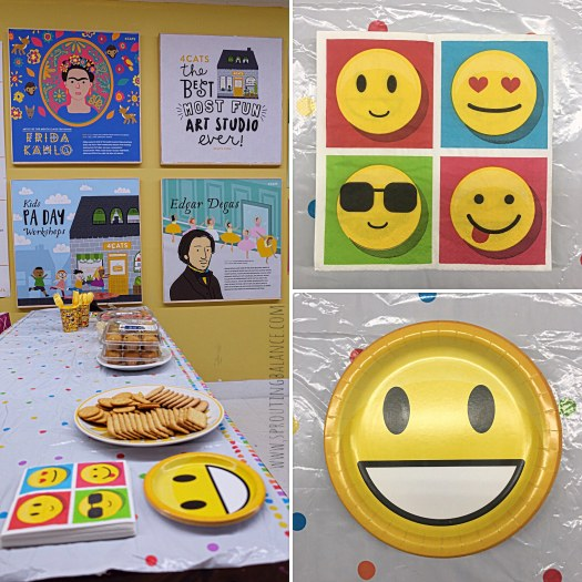Let's Make Faces - Decorations | www.sproutingbalance.com | #4cats #emoji #bestie #birthday #party #decorations
