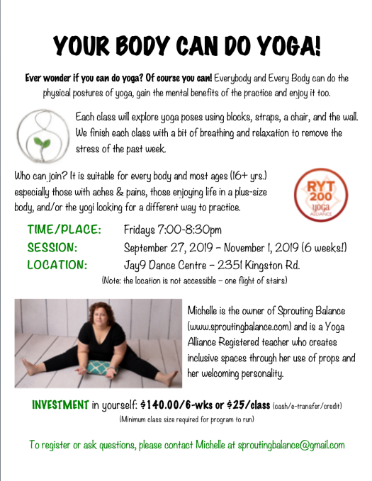 Your Body Can Do Yoga! | www.sproutingbalance.com | #toronto #yoga #yogaforall