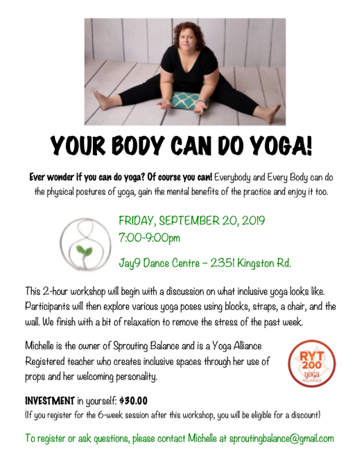 Workshop: Your Body Can Do Yoga | www.sproutingbalance.com | Body Positive Yoga in Scarborough Toronto