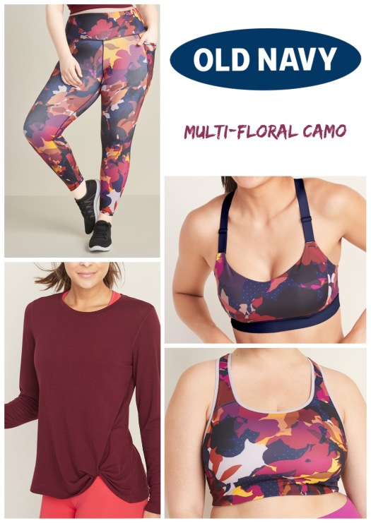New Outfit - Old Navy Multi-Floral Camo Collage | www.sproutingbalance.com | plus sized outfit for yoga