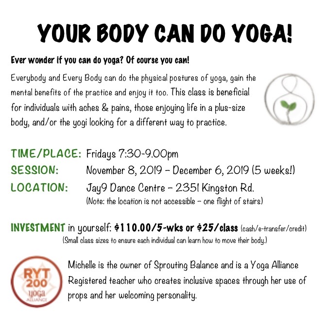 Community Classes at Jay9 Dance November 8 to December 6 2019 | www.sproutingbalance.com | Yoga Classes for All Abilities in Scarborough Toronto