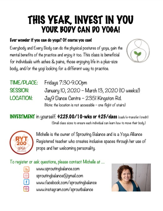 Your Body Can Do Yoga - Winter 2020 | www.sproutingbalance.com | Scarborough (Toronto) Body Positive Yoga