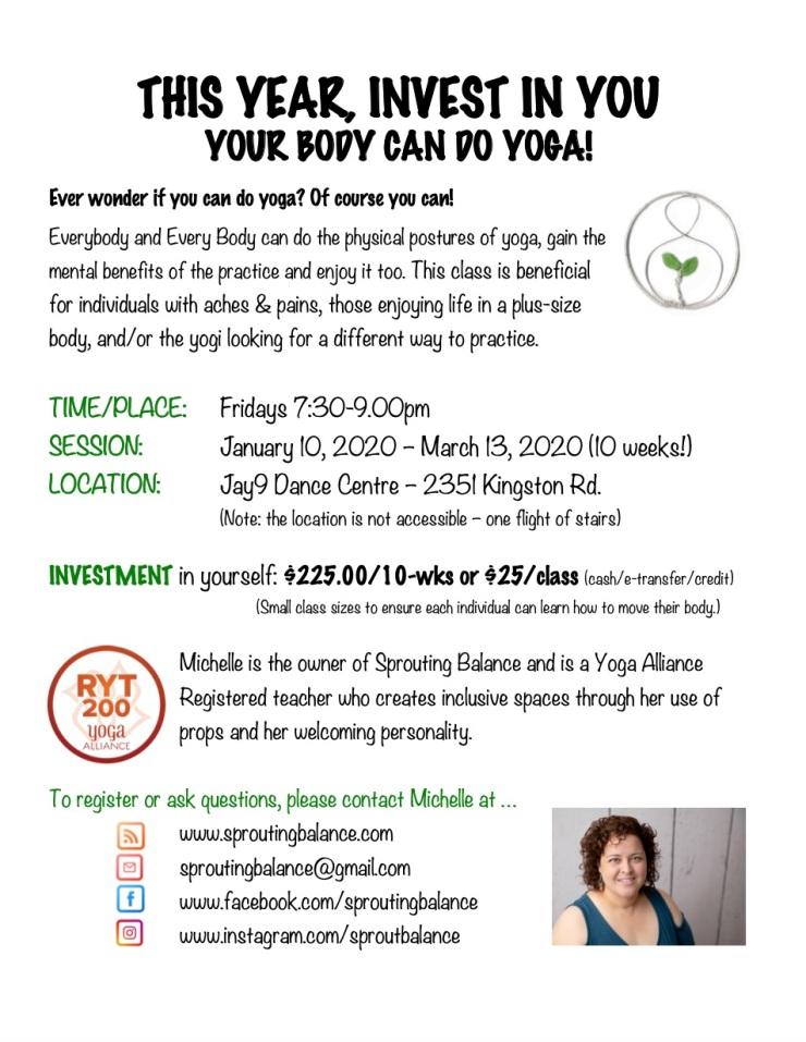 Your Body Can Do Yoga - Winter 2020 | www.sproutingbalance.com | Scarborough (Toronto) Body Positive Yoga