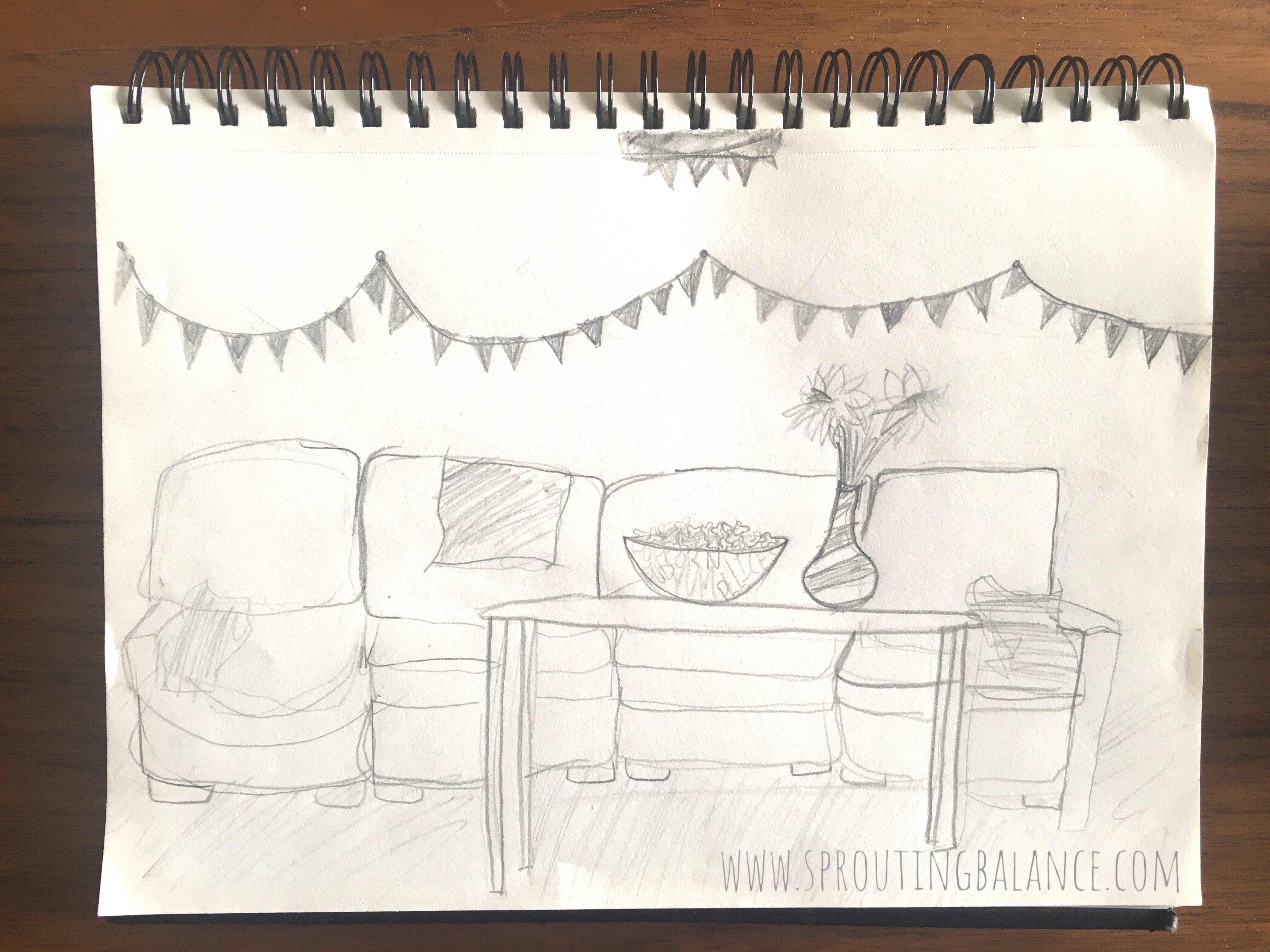 Staying Occupied: Living Room Theatre - Drawing | www.sproutingbalance.com | #stayhome #socialdistancing #bepositive