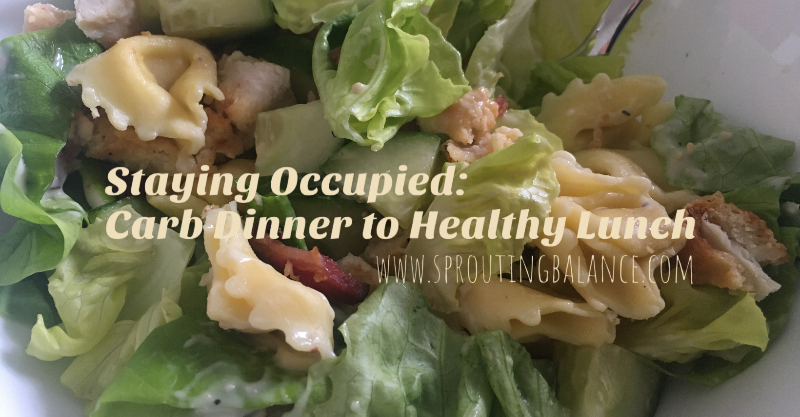 Staying Occupied: Carb Dinner to Healthy Lunch | www.sproutingbalance.com | #stayhome #socialdistancing #bepositive