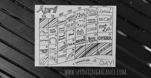 Staying Occupied: Drawing a Day - April | www.sproutingbalance.com | #stayhome #socialdistancing #bepositive