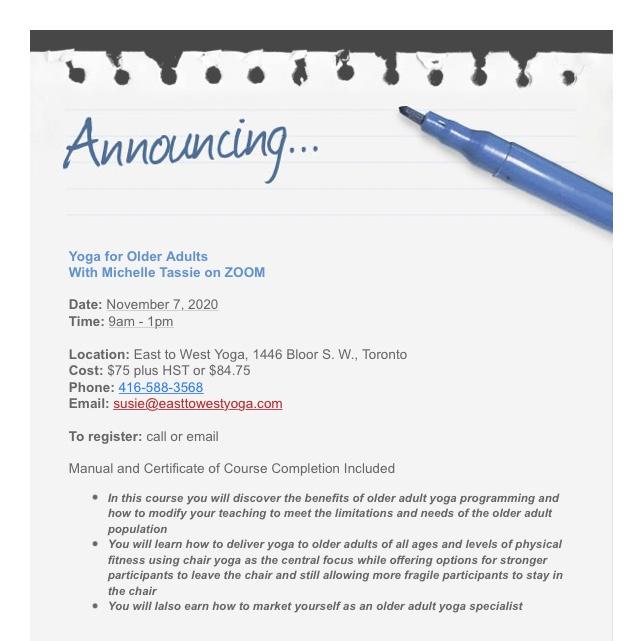 Announcing November 7 2020 Teacher Workshop on Chair Yoga and Older Adult Yoga | www.sproutingbalance.com | #yoga #chair #olderadult