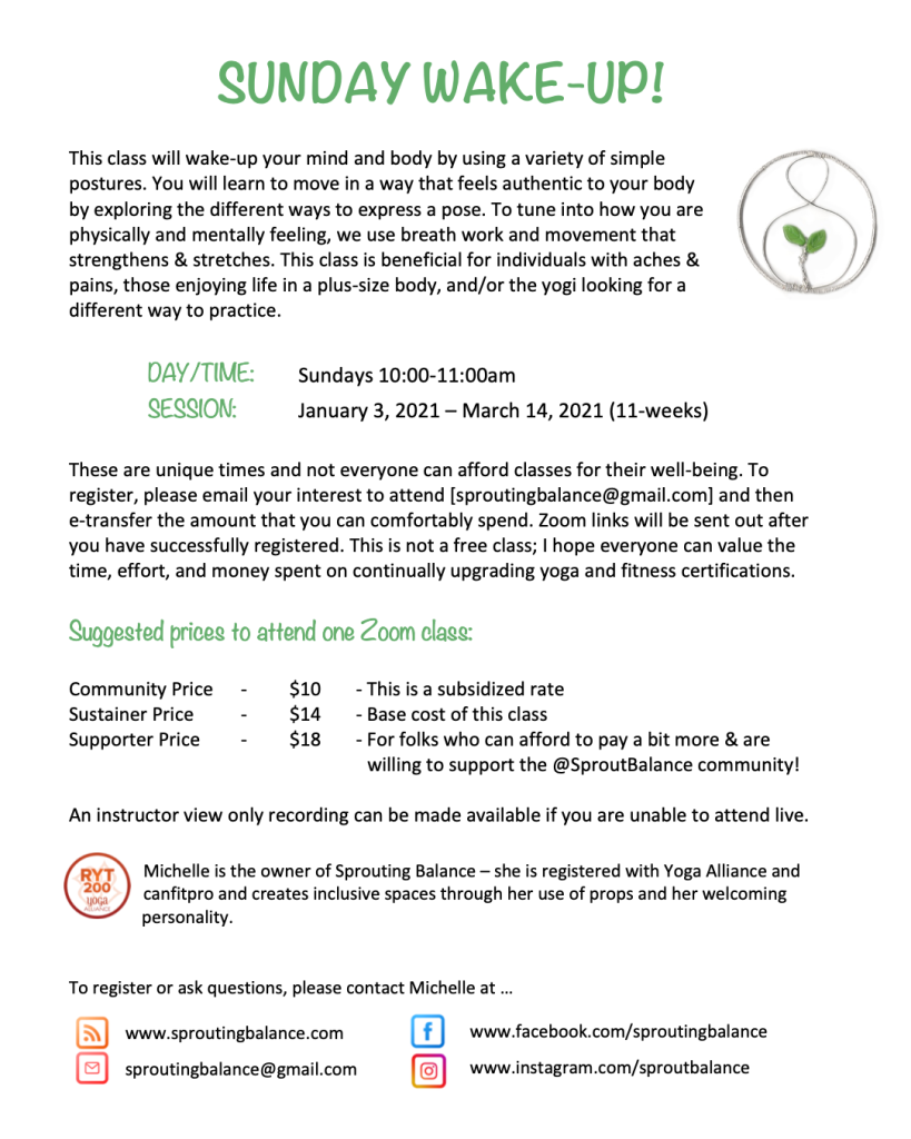 Sunday Wake-up on Zoom | 2021 Jan 3 - Mar 14 | www.sproutingbalance.com | #yoga #movement #zoom